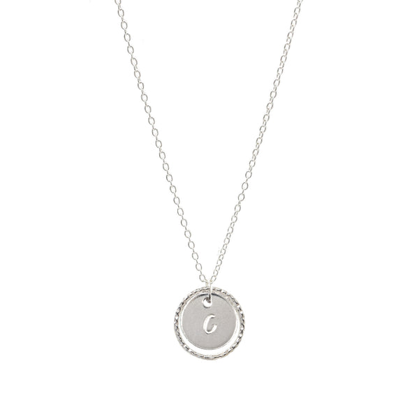 Personalised Initial Coin Necklace Sterling Silver