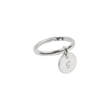 Load image into Gallery viewer, Personalised Initial Coin Ring Sterling Silver