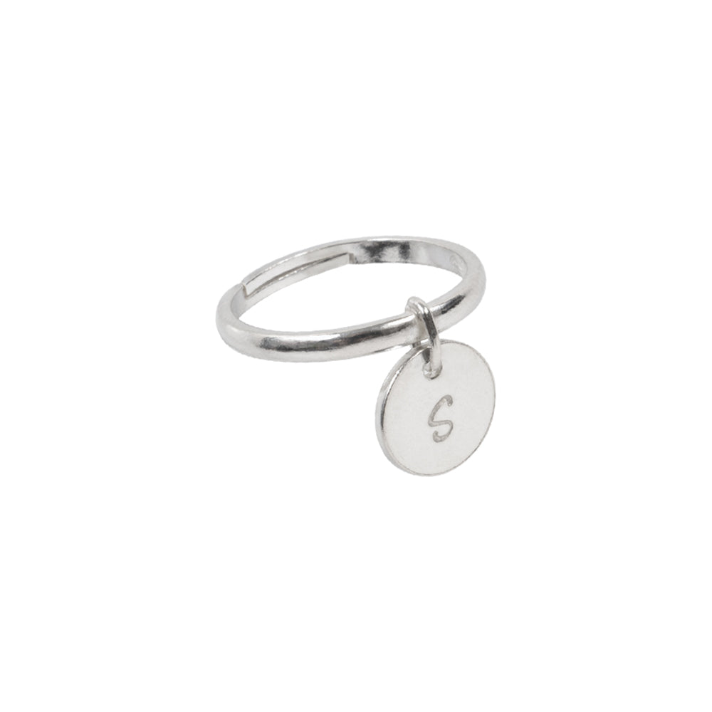 Personalised Initial Coin Ring Sterling Silver