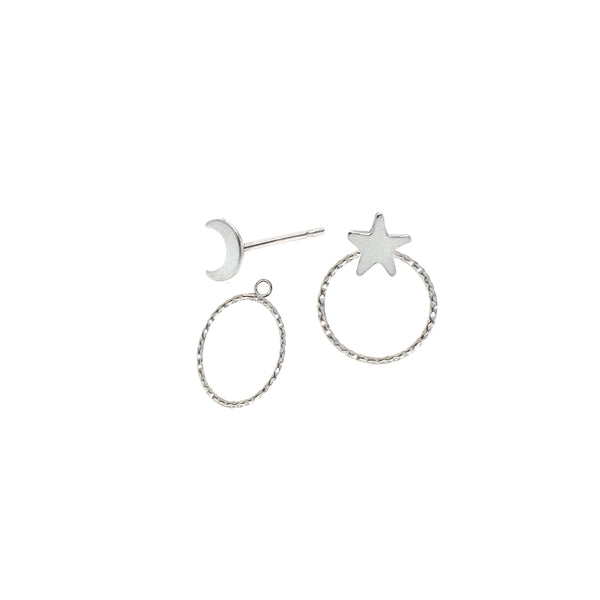 Moon and Star Stud Earrings and Ear Jackets Sterling Silver