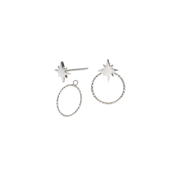 Star Stud Earrings and Ear Jackets Sterling Silver