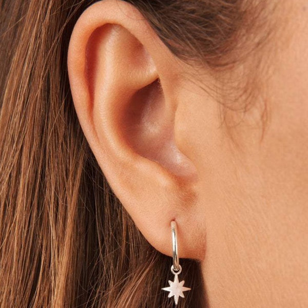 Mini Star Hoop Earrings Sterling Silver