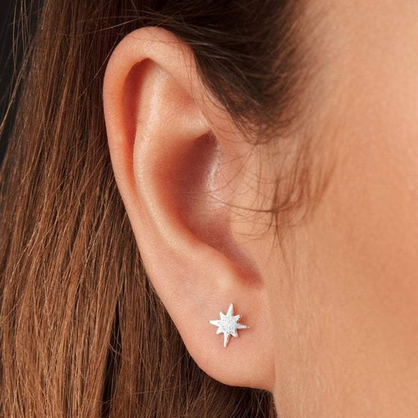 Tiny Star Stud Earrings Sterling Silver