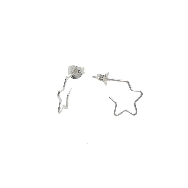 Small Star Huggie Hoop Earrings Sterling Silver