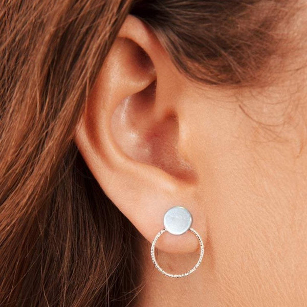 Disc and Circle Stud Earrings and Ear Jackets Sterling Silver