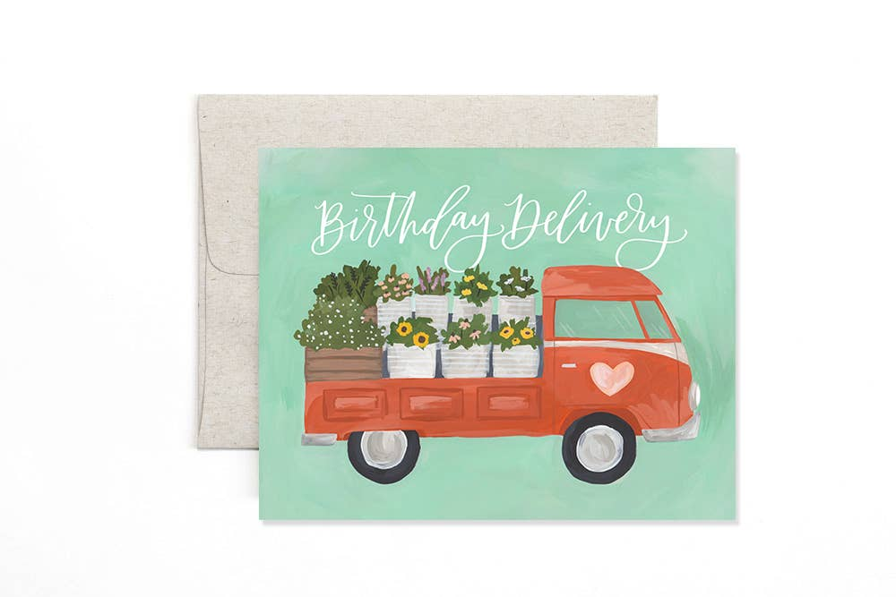 Flower Truck Birthday Greeting Card Stationery