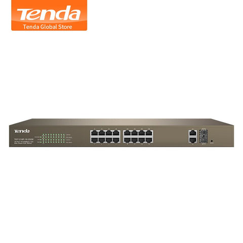 Tenda TEF1218P-16-250W 16-Port 10/100Mbps with 2 Gigabit Web Smart PoE Switch,Long Distance Transmission Switch,for HD camera/AP