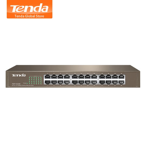 Tenda TEF1024D 24 Port 10/100M Fast Enternet Network Switch, 4.8Gbps, Auto MDI/MDI-X, Half/Full Duplex, 6KV Lightning Protection