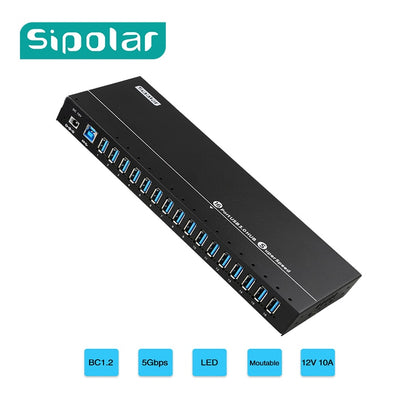 Sipolar new arrival unique design metal 16 port USB 3.0 data syncs and charging hub with 120W power for iphone ipad tablets