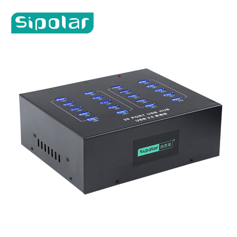 Sipolar 20 Port Metal Industrial 100-240V 110W Super Speed USB 3.0 Hub With Data Syncs And Charging Din Rail Mountable A-213P