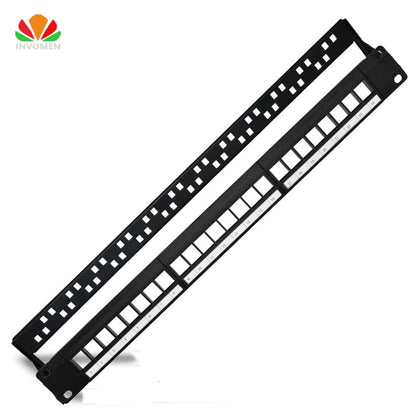 19in 1U Rack 24 Port Blank Patch Panel Distribution Frame For RJ11 RJ45 Cable Adapter 110 Voice Module CAT5e 6 7 Keystone Jack