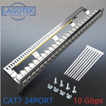 Cat7 Patch panel 24port CAT7/CAT6a  FTP Patch Panel Full Shielded Incl. 24x Cat7 shielded keystone adapter   1U 19'' Inch