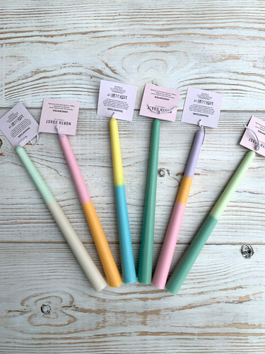 Handpoured coloured taper candles