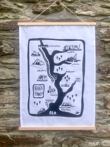 River Fowey monochrome illustration tea towel