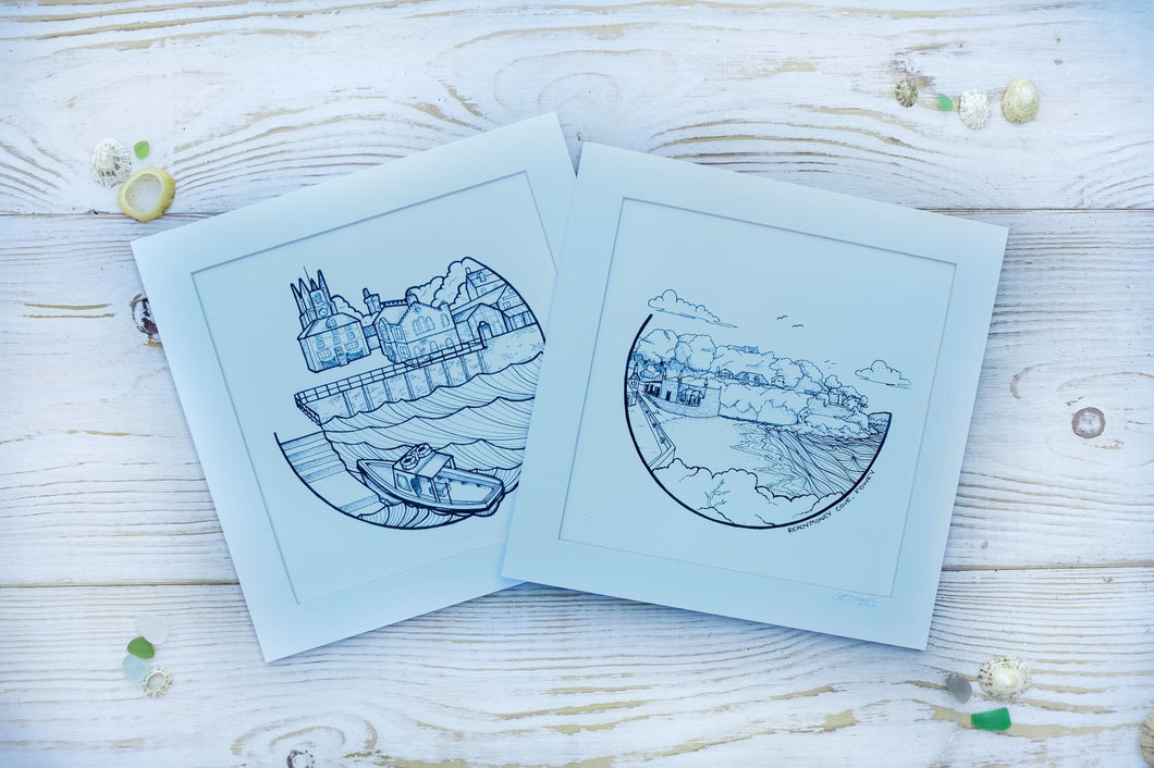 Two mounted square prints of illustrations of Fowey and Readymoney Cove