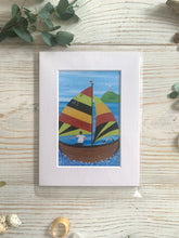 Load image into Gallery viewer, Mini mounted print of Fowey River sailing boat