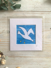 Load image into Gallery viewer, mini mounted print of painting of seagull in flight