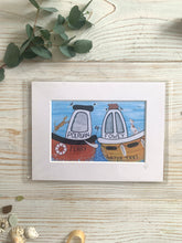 Load image into Gallery viewer, A mini mounted print of Polruan ferry & Fowey Water Taxi