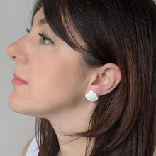 Load image into Gallery viewer, woman wearing porcelain clam shell stud earrings