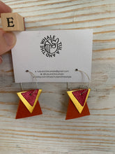 Load image into Gallery viewer, Geometric Hoop Upcycled Leather Earrings