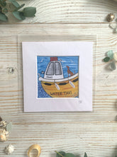 Load image into Gallery viewer, Mini mounted print of a dog on the Fowey Water Taxi