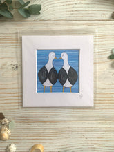 Load image into Gallery viewer, A mini mounted print of two seagulls