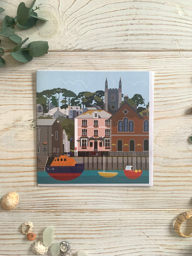 Colourful greetings card of Fowey Town Quay