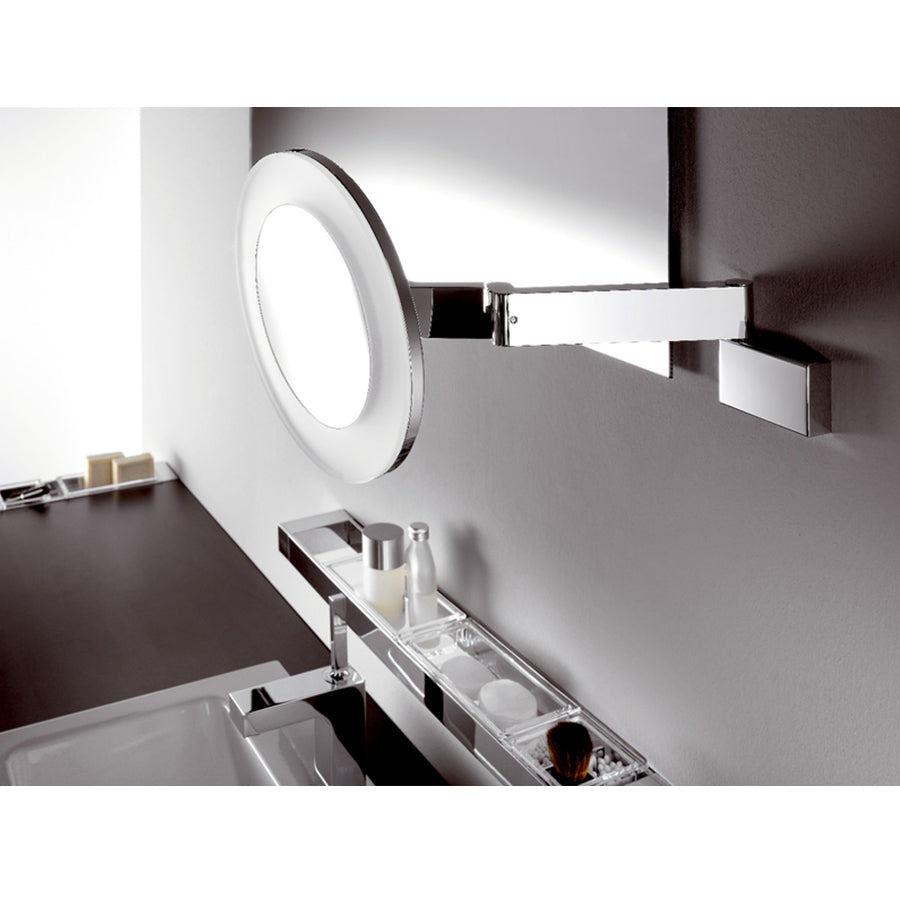 LED shaving and cosmetic mirror with 5 magnyfying glass