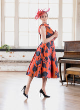 Load image into Gallery viewer, VO 6419 Orange/Navy Floral Dress