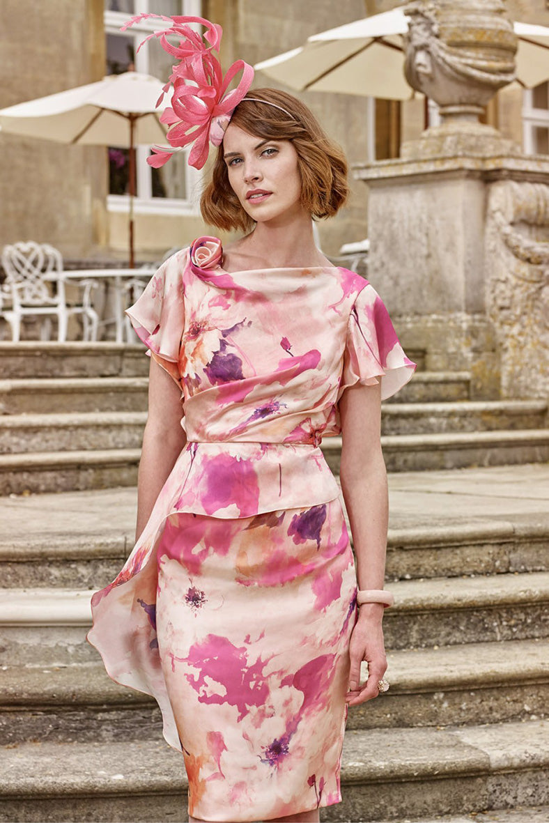John Charles Peony Floral Short Dress-JC26879A for the mother of the bride