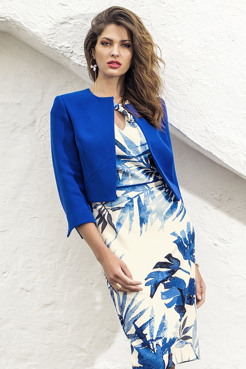 Michaela Louisa Blue Palm dress & jacket - 8803/8839