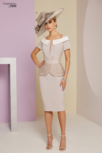 Veni Infantino by Ronald Joyce Taupe dress with peplum - RJ991403 mother of the bride dress