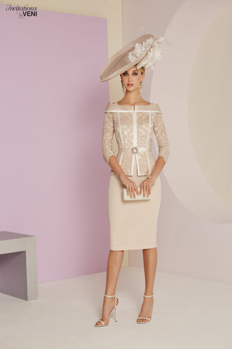 Veni Infantino by Ronald Joyce Almond/Ivory Dress - style RJ991437 mother of the bride outfit