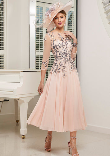 Veni Infantino by Ronald Joyce Baby Pink/Navy chiffon dress - style RJ991529