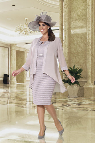 Dressed Up by Veromia Dusky Pink Dress/Chiffon Jacket - DU347 plus size mother of the bride outfit