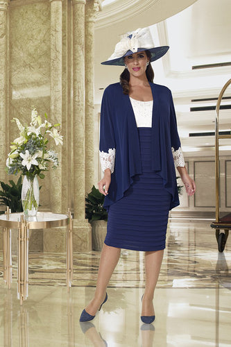 Dressed Up by Veromia Navy/Ivory dress & Jacket - DU362 plus size mother of the bride outfit