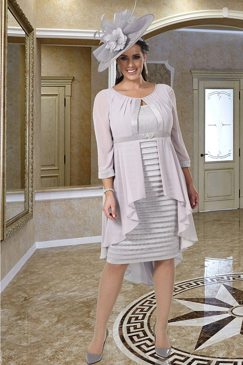 DU366 Silver / Metalic dress plus size mother of the bride outfit