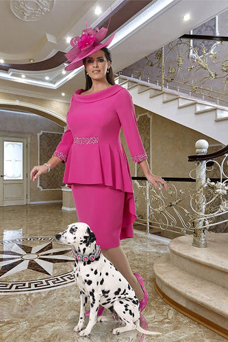 DU381 Dressed Up Hot Pink dress plus size mother of the  bride outfit