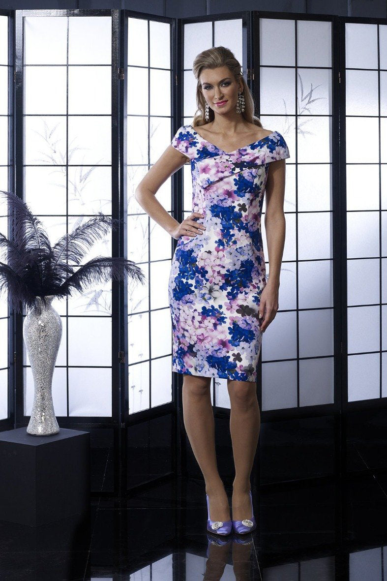 Veromia Occasions Violet floral dress - Style VO5008