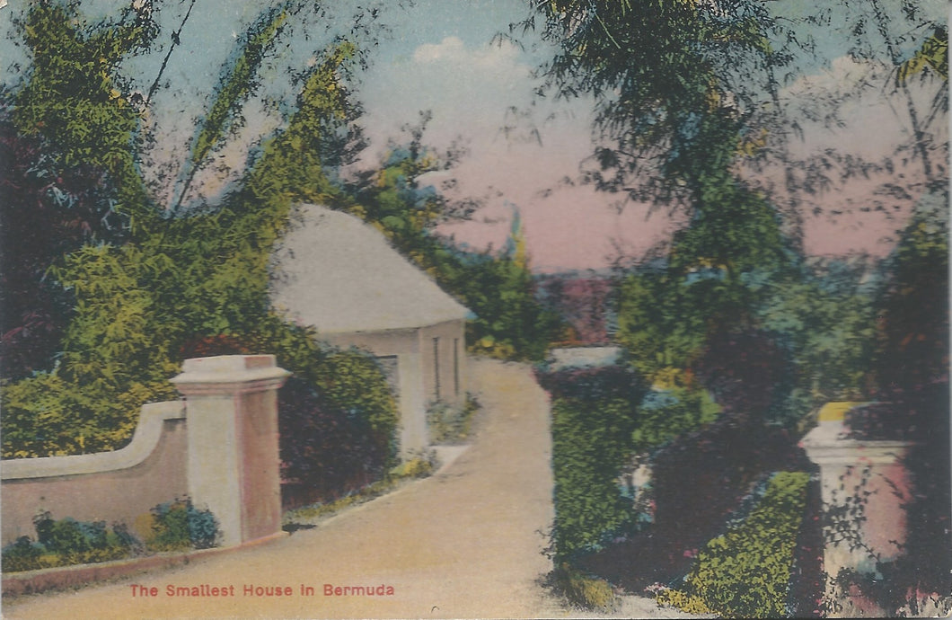 The Smallest House in Bermuda, Early Hand Colored Postcard, Unused