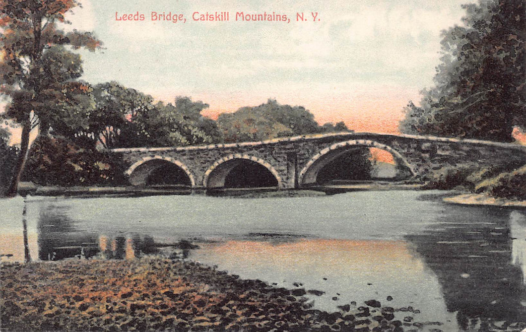 Leeds Bridge, Catskill Mountains, New York, postcard, used in 1910
