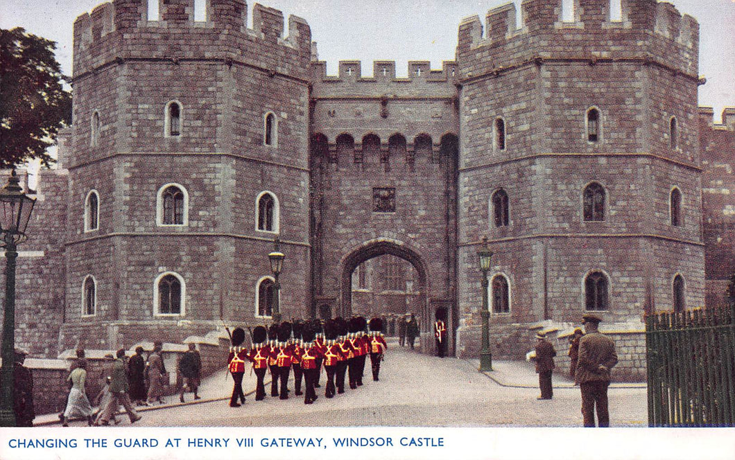 Changing the Guard at Henry VIII Gateway, Windsor Castle, England, Early Photochrom Postcard