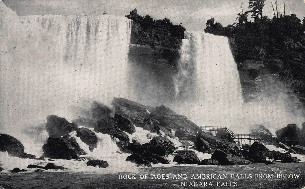 Rock of Ages and American Falls from Below Niagara Falls, New York., early postcard, used in 1913