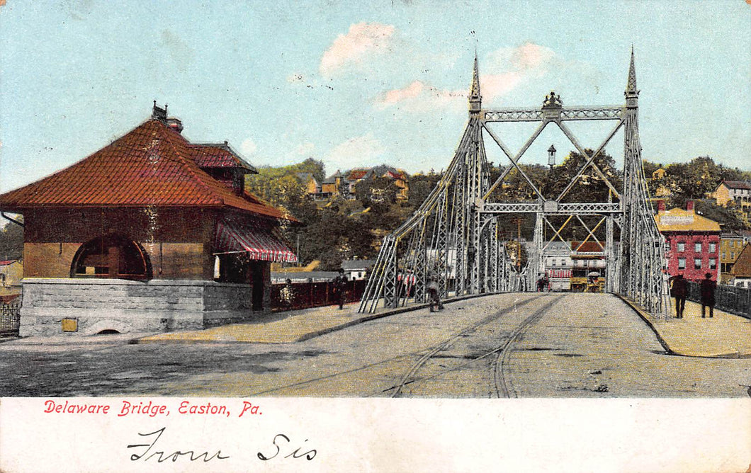 Delaware Bridge, Easton, Pennsylvania, early postcard, used in 1906