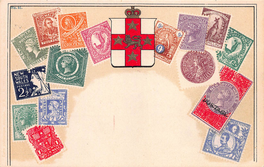New South Wales, Classic Stamp Images on Early Postcard, Used in 1936