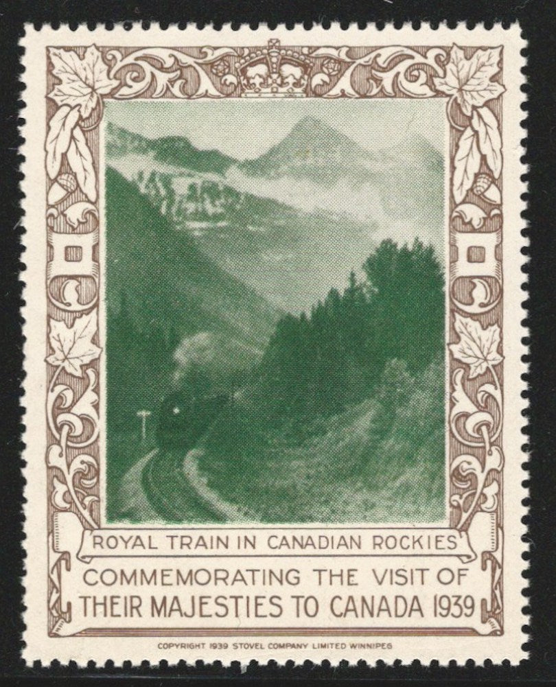 Royal Train in Canadian Rockies, 1939 Royal Visit of their Majesties to Canada, Poster Stamp