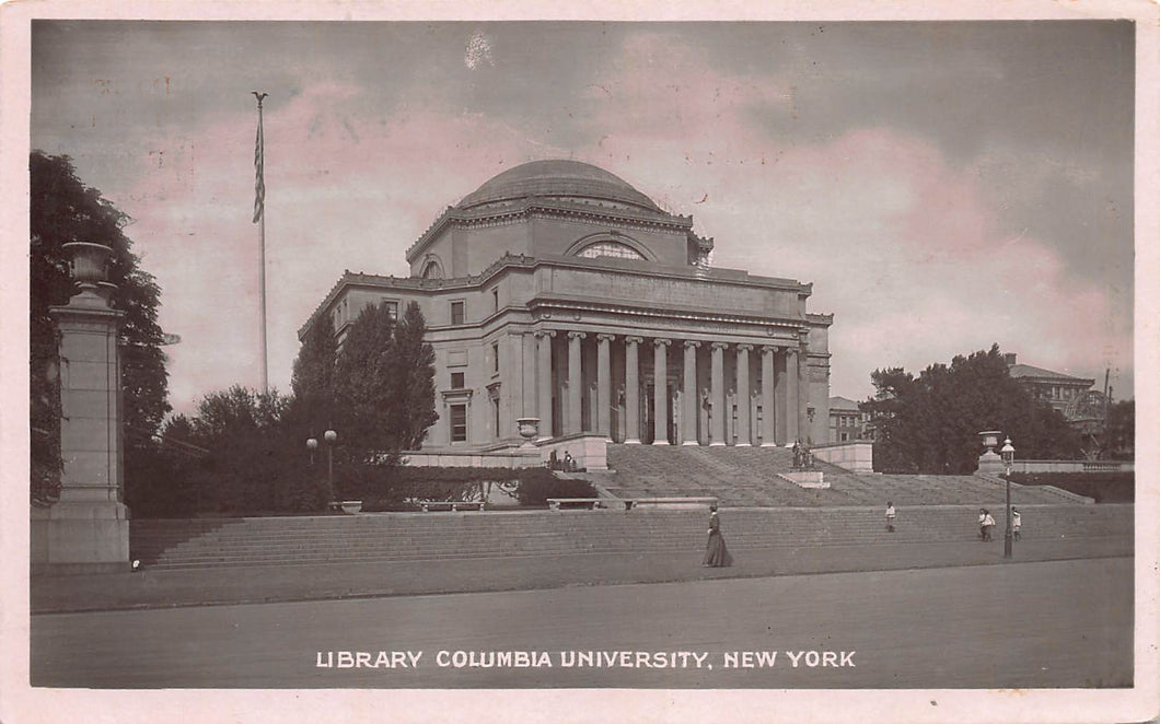 Library, Columbia University, Manhattan, New York City, N.Y., real photo postcard, unused