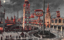 Load image into Gallery viewer, Scene in Luna Park, Coney Island, Brooklyn, New York, early postcard, used in 1908