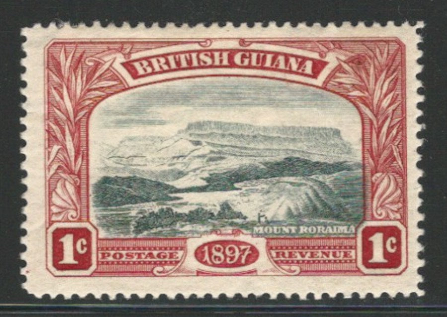 British Guiana, 1898, Scott #152, 41 brown, 1c carmine & gray black Mint, H., V.F.