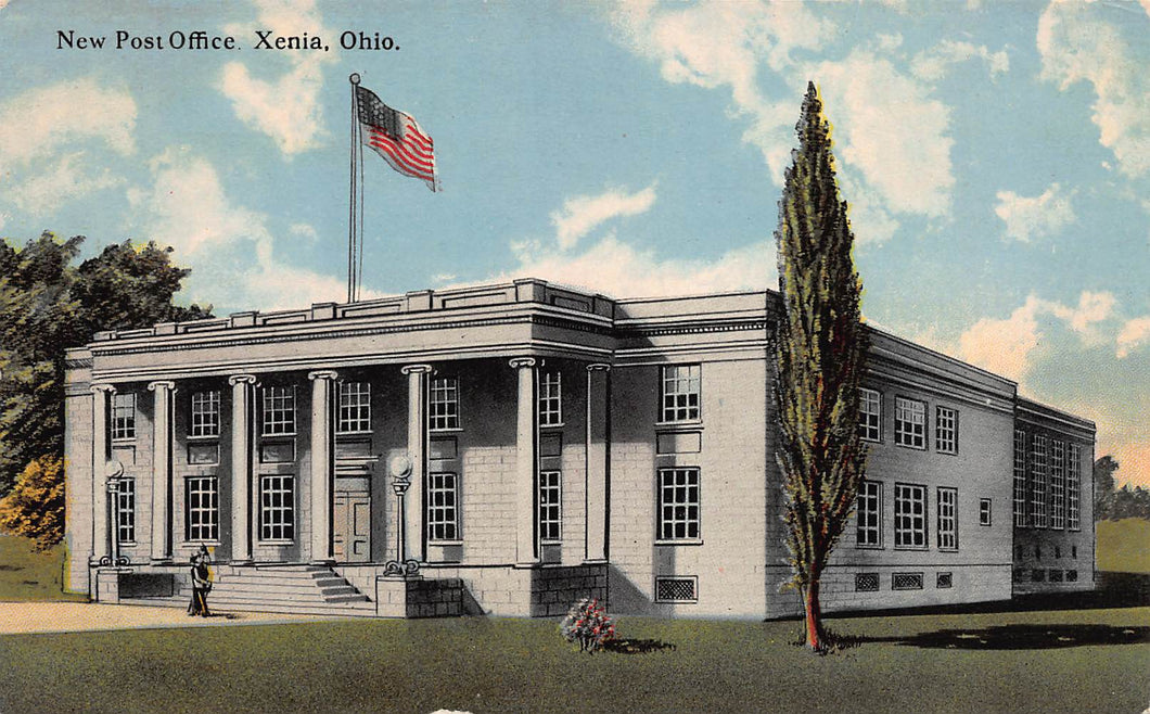 New Post Office, Xenia, Ohio, early postcard, unused